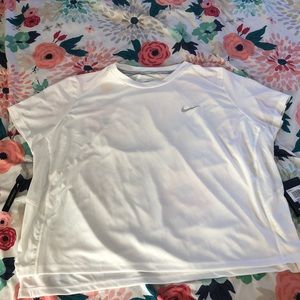 White cropped running top